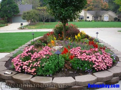 Tả bồn hoa đẹp trong công viên